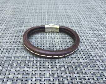 Now on Sale - Men's Brown Leather Stitched Bracelet