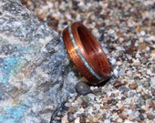 Koa Wood Ring with Offset Inlay of Turquoise (In Stock Size 5; 5mm wide - Custom Sizes available upon request) // Wood Wedding Ring