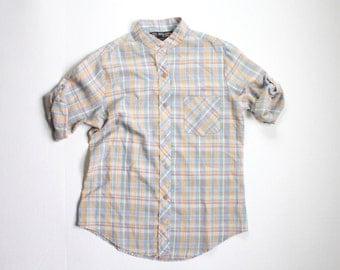 pretty plaid. vintage boyfriend blose. top. button up camp shirt. blue. button sleeve. tan. neutral. summer small. sm. s.