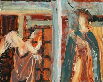 Original Painting Religious Art - Annunciation after Piero della Francesca - Art History - Christmas Art - Catholic Art - Virgin Mary