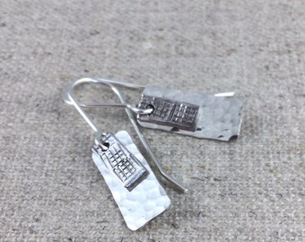 Sterling Silver Layered Rectangle Earrings