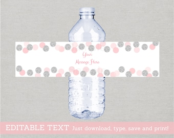 Glitter Water Bottle Labels / Glitter Baby Shower / Glitter Dots / Pink & Silver / Baby Girl / Printable INSTANT DOWNLOAD Editable PDF A123