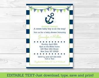 Nautical Baby Shower Invitation / Nautical Baby Shower Invite / Anchor Baby Shower Invite / Navy & Green INSTANT DOWNLOAD Editable PDF A198