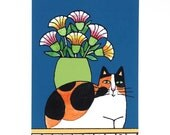 Calico Cat Art Print/ Kitty with Garden Flowers by Susan Faye