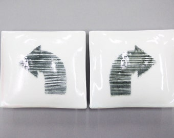 Find your way -  two porcelain wall pillows