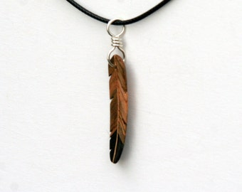 Handcarved Ebony, Ambrosia Maple and Maple Wood  feather  Pendant  J160330