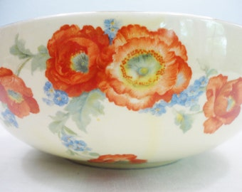 Vintage Halls Orange Poppy Serving Bowl - 9""