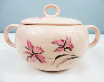 Vintage Pink Floral Pottery Lidded Sugar Bowl