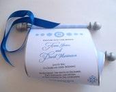 Fairytale wedding invitation scroll, scroll invitations, silver and blue wedding, set of 125