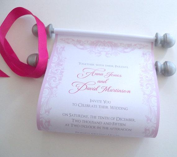 pink blush wedding invitation paper scroll invitations pink blush