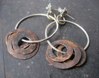 Comes The Rain - Mixed Metal Post Earrings Hammered Oxidized Silver Hoops Reclaimed Copper Jane Plain Artisan Jewelry