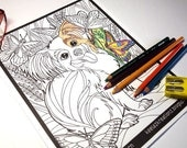 Papillon Dog Coloring Page Digital Download