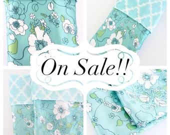 CLEARANCE SALE  / Soft Marakesh minky print with Nature satin print / Beautiful and unique baby shower gift