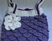 Purple and White Crocodile Stitch Purse, Boho, Chic purse, Flower Bag,Shoulder Bag, Flower Hand Bag, Medium size Hand Bag
