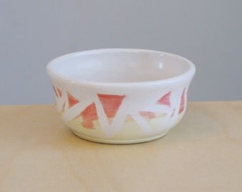 Small Prep Bowl  -  Stoneware Ceramic Pottery Bowl Handmade Spice Bowl Salt Bowl Salt Cellar with Triangle Design