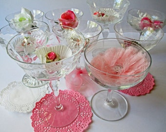 Vintage Mismatched Crystal Champagne Wine Glasses Set of Nine - Weddings Bridal