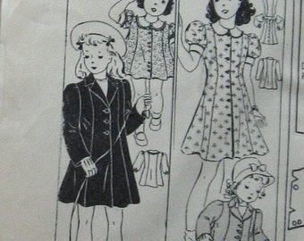 Girls Vintage Dress Pattern Easter Dress And Coat Pattern Princess Girls Spring Dress And Coat Sewing Pattern circa 1940s Sz 8 Uncut Pattern