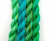 Perle 8 cotton embroidery thread, hand dyed, 4 mini skeins - turquoise, emerald, bright green, olive, light blue, space dyed perle 8