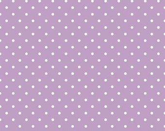 25% OFF White Swiss Dots on Lavendar - 1/2 Yard