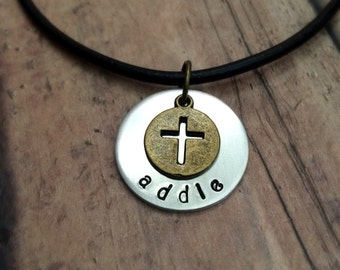Personalized Cross Necklace, First Communion Necklace, Baptism Necklace, Confirmation Necklace, Handstamped Necklace, Name Cross Necklace