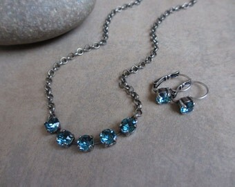 Blue Swarovski Crystal Necklace and Earrings Set, Indicolite, Silver, Oxidized, Choker, Blue Necklace, Irisjewelrydesign
