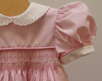 Pink White Gingham Hand Smocked Dress 18 - 24  month Ready to Ship