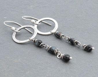 Sardonyx Earrings, Black Banded Agate Earrings, Chain Dangle Earrings, Black Earrings, Hammered Circles, Sterling Silver, #4683