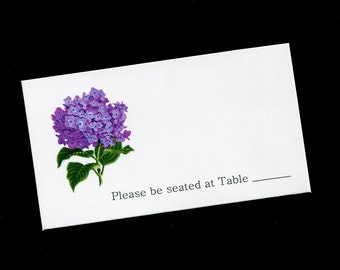 Place Card - Table Cards - Wedding - Bridal Shower - Purple Hyacinth - Pink Flower