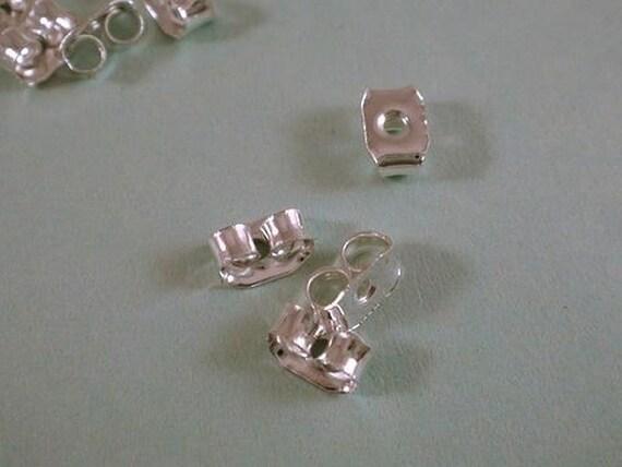 50 Silver Earring Backs Butterfly Earnut Silver Plated 6x4mm - 50 pc - F4016EN-S50