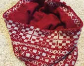 Red and cream winter cowl, knit cowl, knit scarf, knitted cowl, warm win
