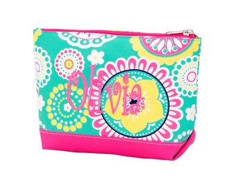 Personalized Cosmetic Bag, Monogrammed Pencil Case, Floral Mint Hot Pink, Piper Collection