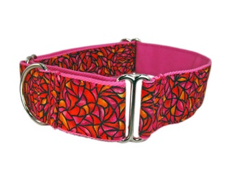 K-nineCouture's 1.5 Inch Pink with Orange and Fuchsia Martingale Dog Collar, Choose M, S or XS