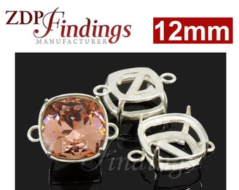 2pcs x Quality Cast 12mm 925 Sterling Silver Bezel Tray Setting Connector fit Swarovski 4470 crystals DIY (N22LSH)