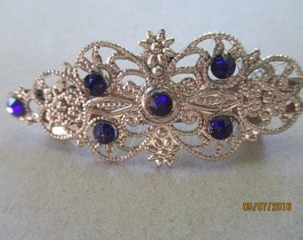 French Style Barrette  Sapphire Swarovski Crystals Wedding Barrette