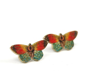 Orange Butterfly Post Earrings Butterfly Earrings Post Earrings Bug Earrings Studs Shrink Plastic Orange Earrings Stainless Steel