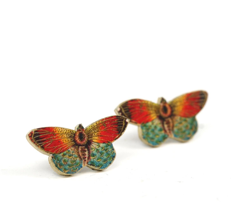 orange butterfly post earrings butterfly earrings post