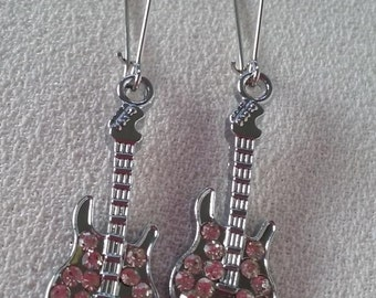 SALE Silver Diamond Crystals Long Guitar Sparkling Earrings