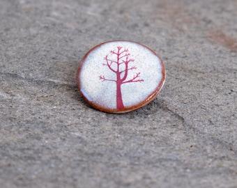 Ceramic Pink Winter Tree Brooch
