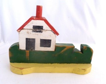 """Folk Art House Puzzle, 7 1/4"""" x 10"""", wood crafted child's puzzle, home decor, red white green yellow, puzzle, folk art, childs toy"""