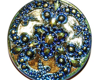 Gold and Bluel Czech Glass Button; Large Iridized Button Gold with Blue Design, 34mm