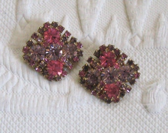 Square Pink Rhinestone Earrings . Kramer .  Purple and Pink Rhinestone Earrings . krame earrings . pink earrings