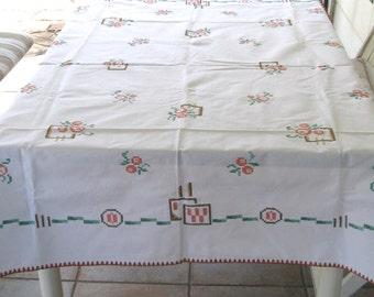 Cross Stitch tablecloth . art deco tablecloth . german art deco . art deco . cross stitch. linen tablecloth . german tablecloth