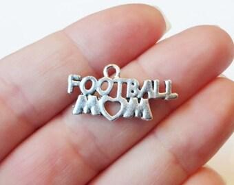 "10 ""Football Mom"" Heart Charms 28x14mm Item:G2"