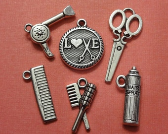 6, Assorted, Hairspray, Comb, Dryer, Scissor, Love, Brush, Hair Stylist Collection Charms ITEM:C5