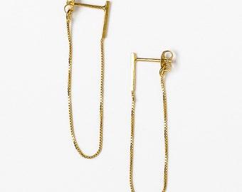 Silver chain stud earrings, minimalist silver earrings, everyday silver earrings, silver thread earrings, sterling silver dangle earrings