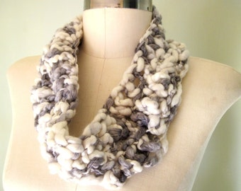 Infinity Scarf, Soft Grey and off White Mix , Acrylic and Wool, Loop Scarf, Neutral Scarf, Infinity Scarves, Eternity Scarf
