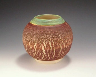 Pottery Vase  - Sodium Silicate Crackle in Green and Brown