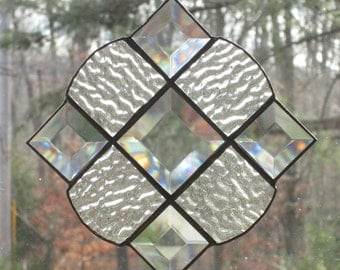 Stained Glass Victorian Suncatcher, Clear Rippled Glass with Bevels