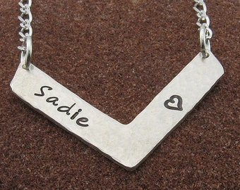 Name Necklace -Sterling Silver Chevron Personalized Jewelry