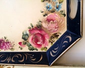 Vintage Large Black and Pink Rose Cottage Tole Painted Paris Chic Tray Reticulated by Nashco